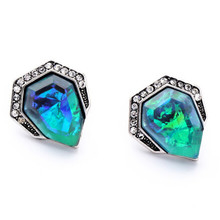 2017 Hot Sale Brand Vintage Triangle Rhinestone Earrings Blue Acrylic Gem Stud Earring For Women Charm Jewelry