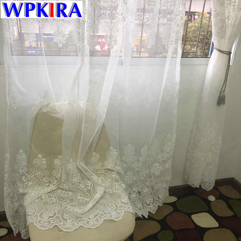 European Embroidered Sheer Curtains for the Bedroom Lace Luxury Embroidery Curtain Tulle white curtains for living room HC045-30
