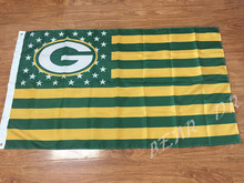 Helmet Stars and Stripes Flag banner 3x5ft NFL Green Bay Packers American flag 150x90 cm 100D Free Shipping