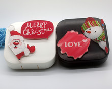 LIUSVENTINA DIY acrylic merry Christmas Santa Claus Snowman love contact lens case for eyes contact lenses box for glasses(China)
