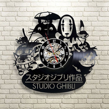 2017 New CD Vinyl Record Wall Clock Modern Spirited Away Studio Ghibli Anime Wall Watch Home Decor Classic Clock Relogio Parede(China)