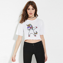 2017 Dabbing Unicorn Women T Shirt Casual Funny Rainbow Unicorns Print Crop Top Ladies Short Sleeve Tee Shirts DAB Tops Hwd024(China)