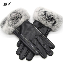 2017Genuine Sheepskin Genuine Women's Winter Rabbit Fur Gloves Women's Warm Real Sheepskin Fashion High Quality Velvet Windproof(China)