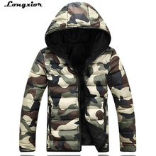 L12 2017 brand men's clothing winter jacket with hoodies outwear Warm Coat Male Solid winter coat Men casual Warm Down Jacket(China)