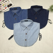 2017 Fake Collar Shirt Vintage Blue Jeans Detachable Collar Vintage False Collars Nep Kraagje Blouse for Women Men Clothes Tops