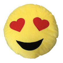 Soft Emoji Smiley Emoticon Yellow Round Cushion Pillow Stuffed Plush Toy Doll - Kiss Heart SunGlass Laugh Tear Teeth Angry Devil(China)