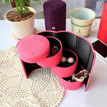 1PC Fashion 3-layer Jewelry Box Necklace Earring Ring Holder Organizer Display Gift Box Cylindrical Boxes 4 Colors 670388(China)