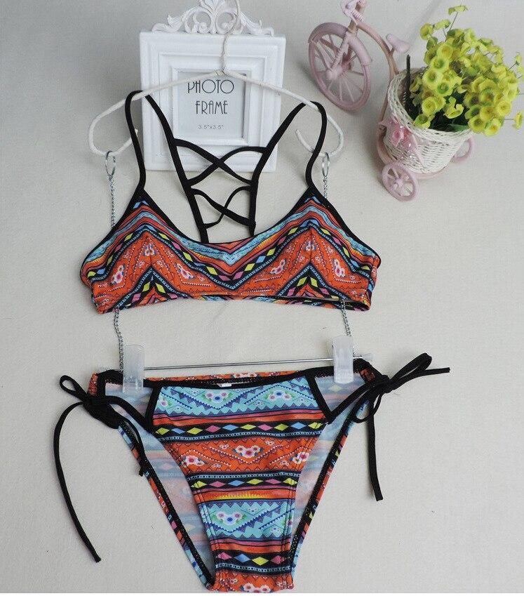 2017 Women Bikini Set Bandage Biquini Print Swimsuit Beachwear Boho Push-up Bikini Set Swimsuit S M L E387 <br><br>Aliexpress