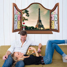 Creative Home Decor European Style 3D Fake Window Wall Sticker Paris Eiffel Tower Landscape Living Room Mural Art Wallpaper(China)