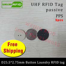 UHF RFID tag laundry PPS button washable 915mhz 868mhz 860-960MHZ Higgs3 EPC 6C 5pcs free shipping smart card passive RFID tags