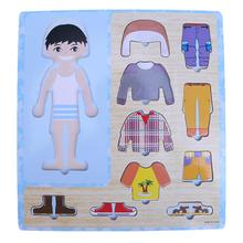 Cartoon Baby Clothing Matching 3D Puzzle Wooden Toys Eduactional Figure Puzzle Games Toys for Children Puzzles Birthday Gift(China)
