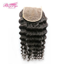 [Berrys Fashion]Lace closure 3 Part 5x5 Brazilian Deep Wave 100% Human hair 10-18 Natural Hairline bleached knots Remy Hair Weft
