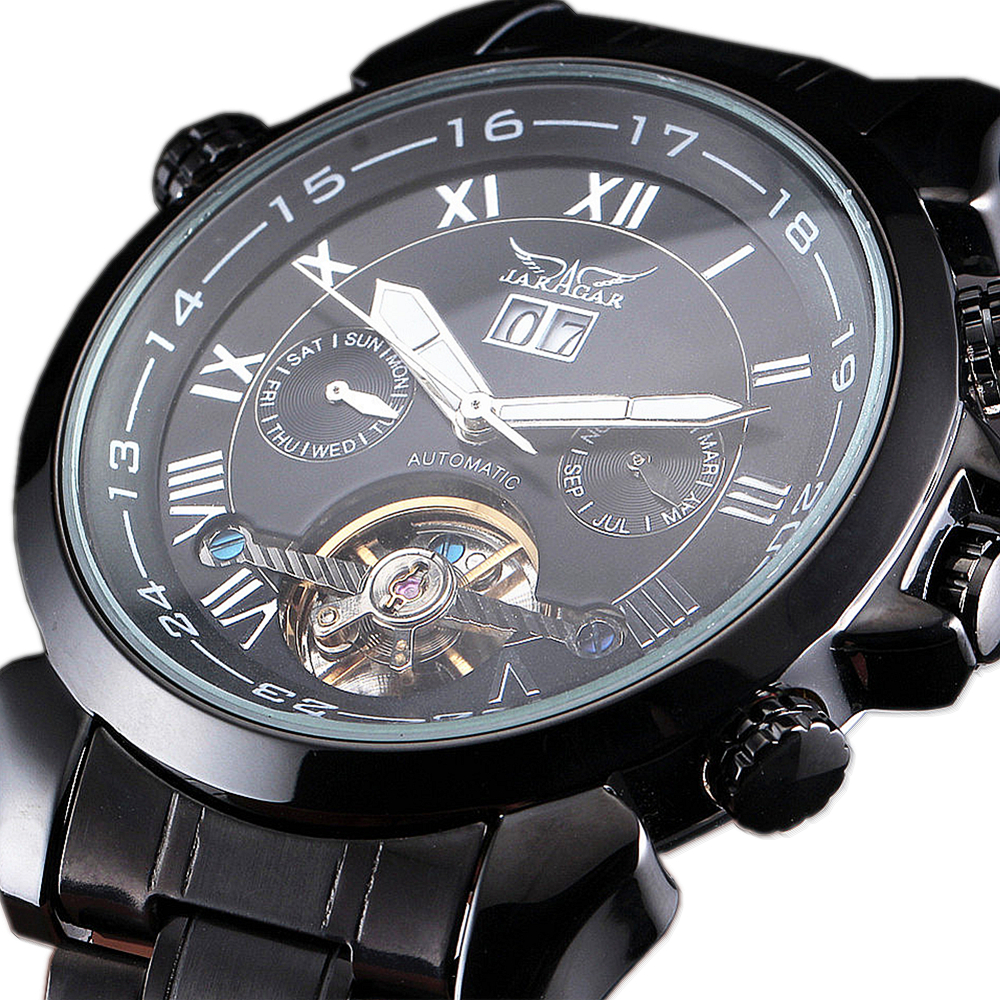JARAGAR Men Multi Function Automatic Mechanical Watches Tourbillon Stainless Steel Fashion Male Wrist Watches relogio masculino<br>