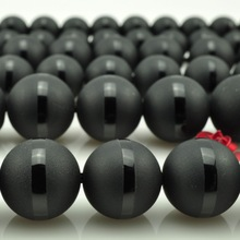 "Free Shipping 16"" Natural Stone Dull Polish Matte Black one Stripe Agata Onyx Round Loose Beads 6 8 10 MM Pick Size FAB09"