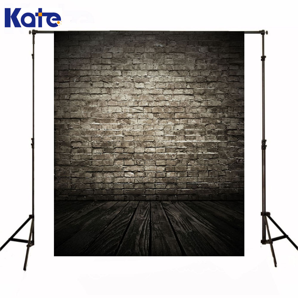 Kate Newborn Baby Photo Background Bright Gray Brick Wall Photography Backdrop Dark Wood Texture Floor For Photo Shoot<br>