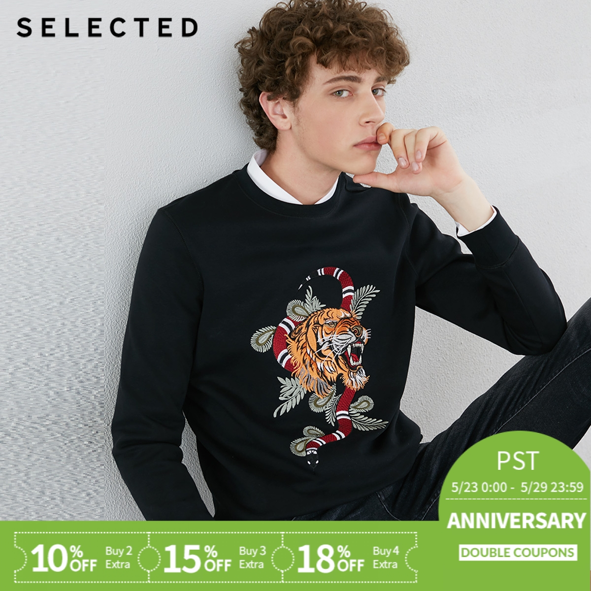 SELECTED slade autumn new male cotton embroidered collar, long sleeved  sweatshirts men S|418333528