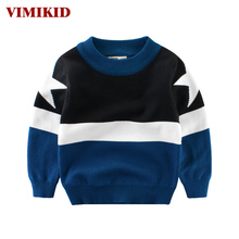 VIMIKID Boys Clothing Sweater 2017 Autumn New Fight Color Five-pointed Star Long Sleeve Round Neck Children's Clothes Sweater(China)