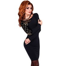 Buy Women Sexy Club Tunic Vestidos Long Sleeve Skinny O-Neck Slim Pencil Dresses Elegant Cotton Bodycon Dress for $6.64 in AliExpress store