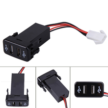 Car Charger USB Port Car Chargers 12V-24V Car Charger for Toyota (VIGO)  Car Dual USB Socket ports with Dual LED work light