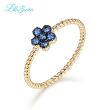 I&zuan 14K Gold Rings For woman 0.178ct Sapphire stone Flower Prong Setting Classic Top Quality Ring Fine Jewelry for woman gift