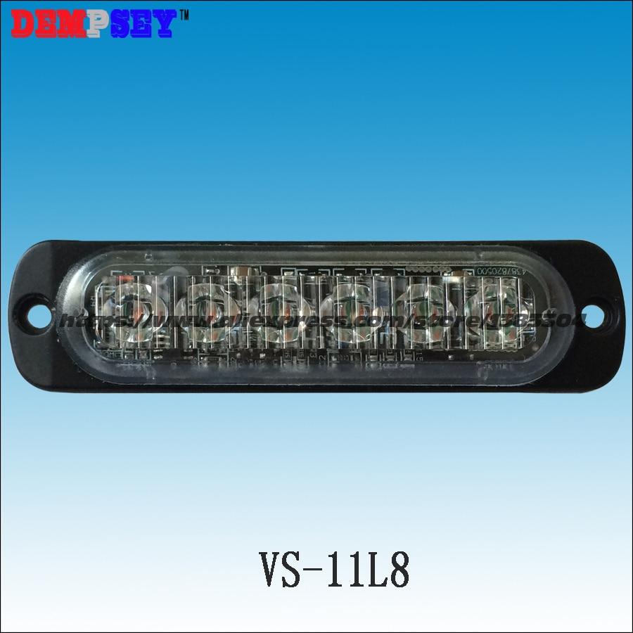 VS-11L8 LED Grill Lights, 0.3 extra thin, 22 flash pattern, 6 * 3W LED,12V, LED surface mount Strobe Warning Flashing Light<br>