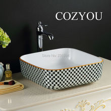 Luxury square Ceramic black white rhinestone bathroom Sink sets,mixer faucet, golden Edge,countertop washbasins,Pool handwashing