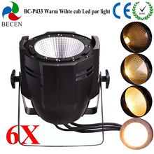 6pcs 100W COB LED PAR DMX Theater Spotlight warm white LED Stage Lighting Projector