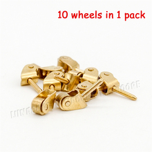 Odoria 1:12 Miniature 10PCS in 1 Pack Pulley Golden Wheel DIY Dollhouse Hardware Furniture Accessory(China)