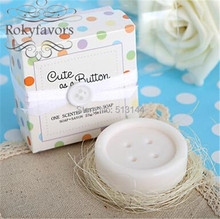 "FREE SHIPPING 100PCS Button Scented Soap Favors ""Cute as a Button"" Soap Gifts Baby Shower Ideas Cute and Lovely Party Gifts"
