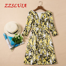 S-XXL Yellow color printed designer V neck three quarter sleeve slim formal dresses 2017 new nice women's dresses 706160