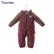 Lovely Patch Infant Rompers Thick Cotton Kids Clothes 2017 New Winter Baby Climbed Costumes High Quality Hooded Jumpsuits Zipper(China)