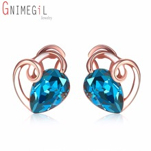 GNIMEGIL Rose Gold Color Love Heart Stud Earrings with Stones Bow Tie Blue Cubic Zirconia Earring Women Brincos Gift