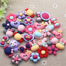 50pcs Mix Patterns Cute Matte Resin Flower/Animal/Bow Flatback Cabochon DIY Decorative Craft Scrapbooking,20-24mm