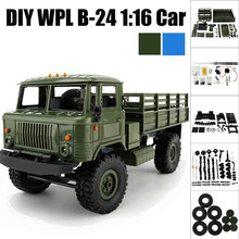 WPLB-14 2.4GHz 1/16 Toy Grade 4WD Assemble RC Military Truck Brushed Motor DIY Racing Trucks High Quality LED Control Car DE15b(China)