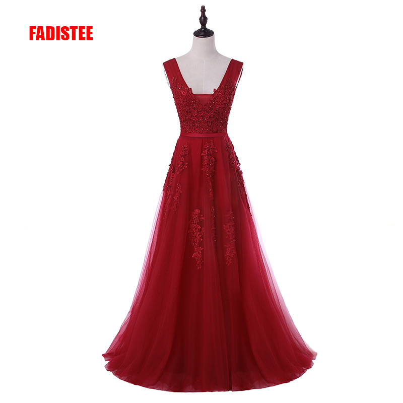 New arrival sexy party evening dresses Vestido de Festa A-line prom dress lace beading Robe De Soiree V-neck dress with Zipper (China)