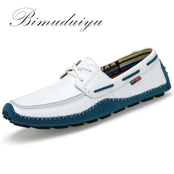 BIMUDUIYU Grande Taille Haute Qualité En Cuir Véritable Hommes Chaussures Doux Mocassins Marque De Mode Hommes Appartements Confortables Casual Conduite Boat38-47