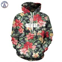 Mr.1991INC Autumn Winter Fashion Men/women Hoodies With Cap Print Red Flowers Green Leaves 3d Hooded Sweatshirts Hoody Tracksuit(China)