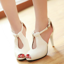 new classic women peep toe pump lady high-heeled sexy T-strap white ladies wedding shoes