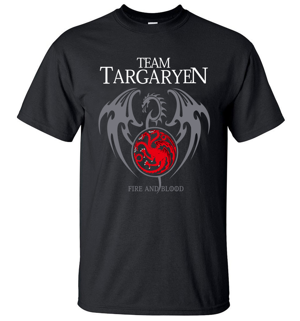 2019 Summer Men Short Sleeve Shirt 100% Cotton Male T-Shirts Game of Thrones Targaryen Fire & Blood Men T Shirt Brand-Clothing