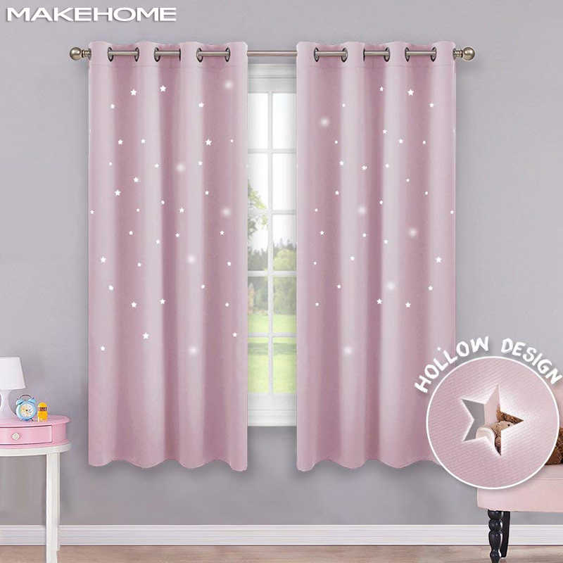 MAKEHOME Hollow Stars Blackout Curtains for Kids Bedroom Living Room Three Layers Fabrics Window Curtains Home Decor Stars Tulle