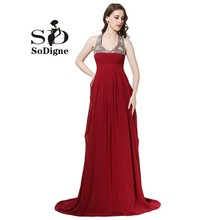 Evening Dress 2017 SoDigne Design Empire Dress Vestidos De Gala Burdundy Cheap Long Prom Dress Plus Size A Line Party Gown