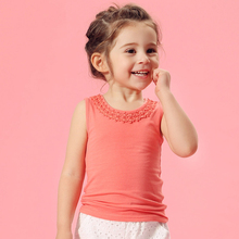 2016 Summer Style T-shirt for Baby Girls 2 3 4 5 6 7 8 T years old Kids Cheap Cool Things Sleeveless Cute Solid Color Shirt Sale