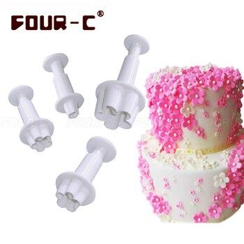 Blossom little flower plastic sugarcraft fondant plunger cake cutters classic cake decorating tools fondant mold free shipping