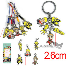 Naruto Metal Figure Uzumaki Naruto model pendant 3 style keychain cell phone straps Clip on Charms Lobster Clasp for Bracelet