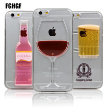 High Sales! Luxury Red Wine Cup and Beer Bottle Liquid Transparent Case Cover For Apple iPhone 6 6S 7 7plus Case(China)