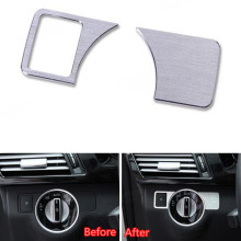 2Pcs/set Aluminum Front Head Light Lamp Switch Cover Trim Sticker Mercedes Benz B C E Class GLK GL ML CLS Styling Sequins - Auto Accessories store