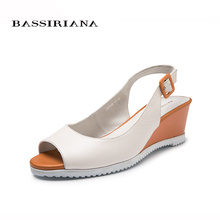 Big size 39-43 shoes woman Summer sandals Wedges Genuine leather Beige color Back Strap Buckle strap Free shipping BASSIRIANA(China)
