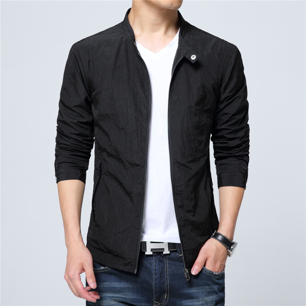 2018 Mens Korean slim fit fashion Jacket black blue white plus size M to 6XL Male