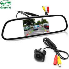 GreenYi Car Video Parking Monitors Assistance , HD 4.3 inch TFT Screen Car Mirror Monitor With Rear View Camera(China)