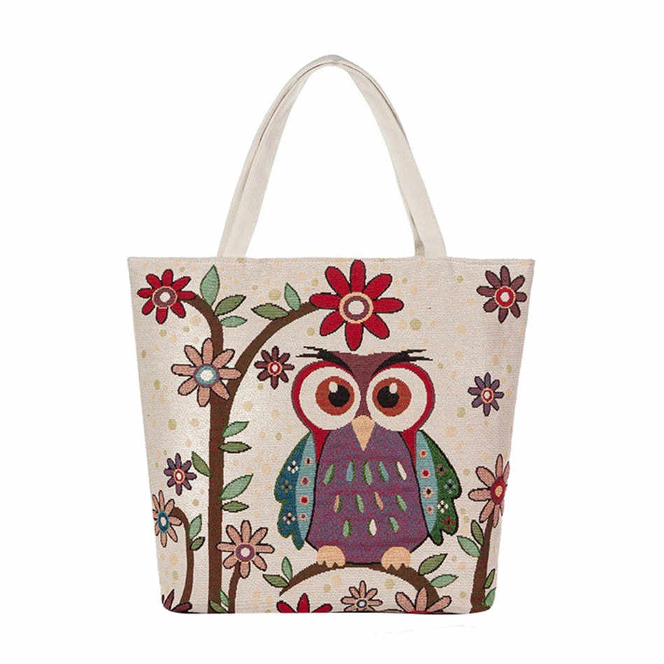 Owl And Floral Print Canvas Bag Women Flowers Handbags Large Capacity  Female Shoulder Bags Single Shopping